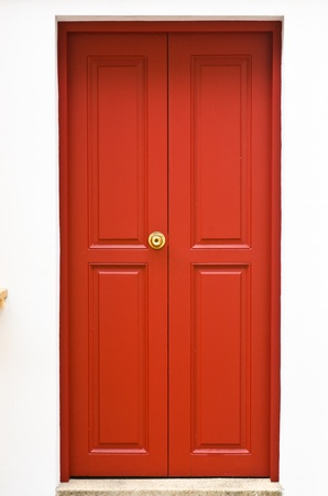 Red door of the monk photo