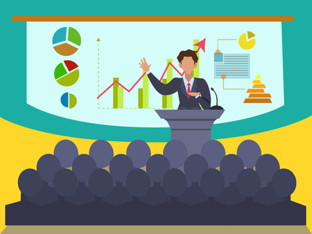 Business supervisor Explaining about business performance With a graph showing growth To show with attendees Иллюстрация