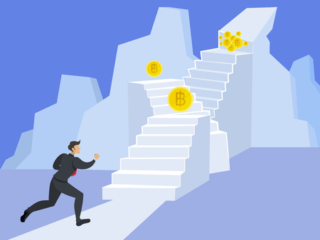 Business man Running to the stairs To success The goal is the currency that is on a steep hilltop.