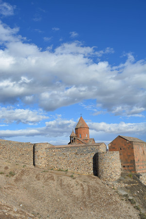 castle rock: Armenian monastery, Khor Virap, landscape, blue sky, clouds Stock Photo