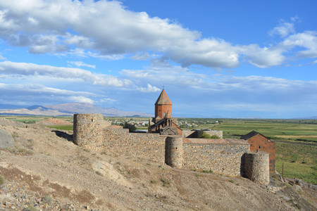 Armenian monastery, Khor Virap, landscape, blue sky, clouds Stock Photo