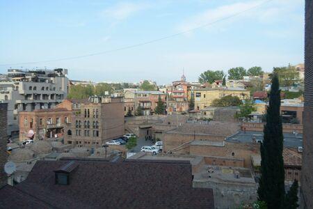 georgian: View of Tbilisi, Georgia. Bulding, architecture, traditional, modern