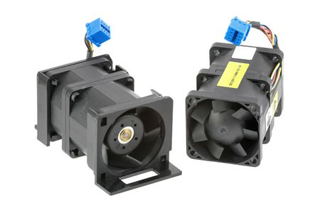 Two dual-rotor cooling fans used in server systems. Stock Photo