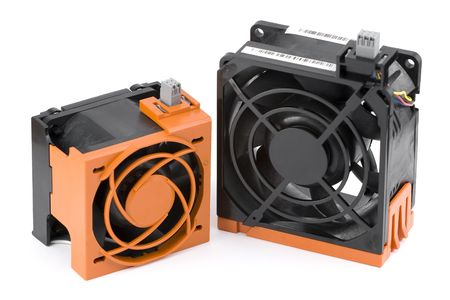 Two hot-plug server fans in protection cages. Isolated on white.