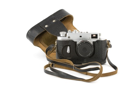 Vintage analogue camera with a leather carry-case isolated on pure white Stock Photo - 10850169