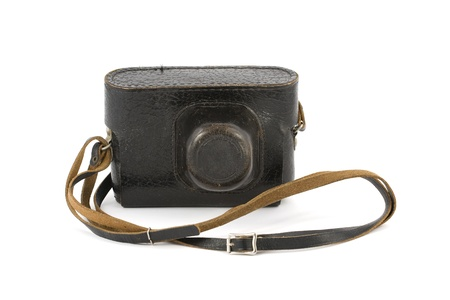 Vintage camera in the leather carry-case isolated on pure white Stock Photo