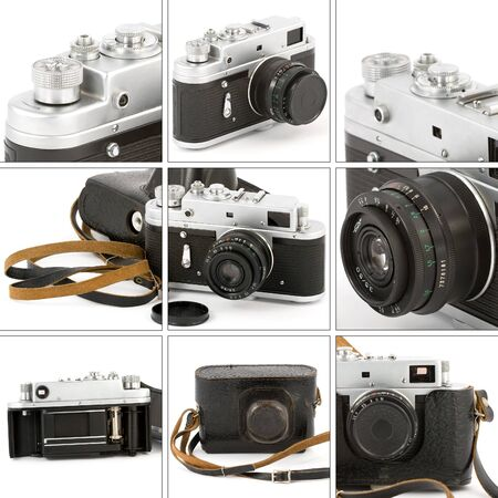 Montage with closeups of a vintage camera. Stock Photo