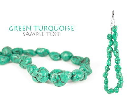 Lovely green turquoise necklace isolated on pure white background. Copy-space.