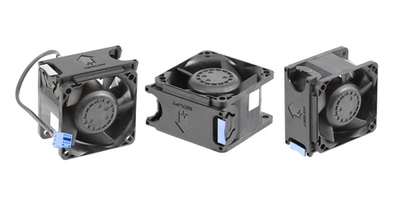 Three different views at the black plastic cooling fan used in personal computers or low-end server systems. Isolated on white.