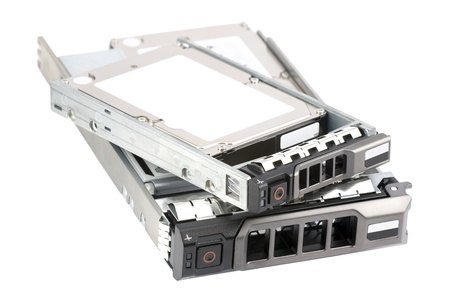 hard drive: Two hot-swappable hard drives: native 2.5-inch drive and hybrid drive (a 2.5-inch hard drive in a 3.5-inch drive carrier assembled through a form factor conversion kit). Isolated on pure white. Stock Photo