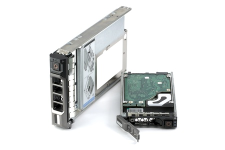 Two different hard drives assembled in hot-swappable carriers: native 2.5-inch drive and another 2.5-inch hard drive assembled in a 3.5-inch carrier (hybrid hard drive). Isolated on white. Stock Photo