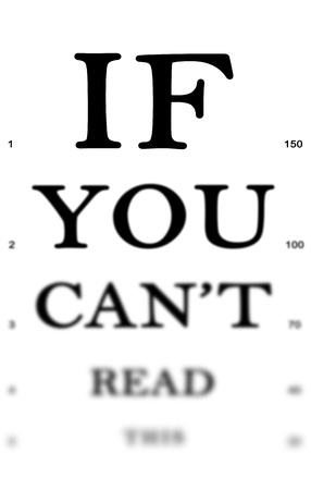 Eye examination board reading