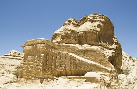Ancient rock formation in Petra, Jordan