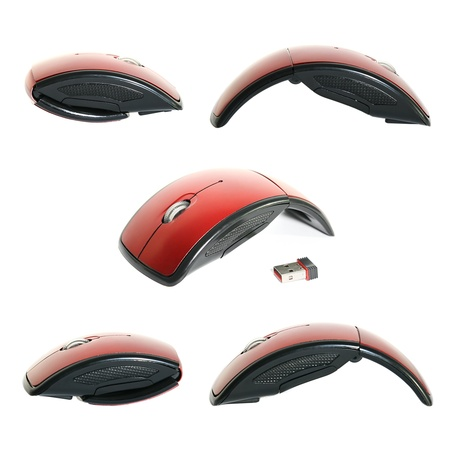 Collection of various photos of a red portable mouse isolated on white background.