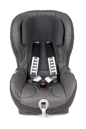 Front view of an isolated safety car seat. photo