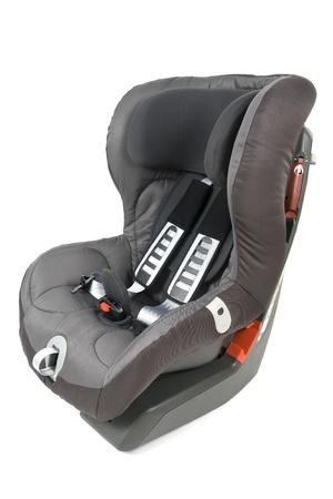 asiento coche: Seguridad asiento de seguridad para niños aislados en fondo blanco.