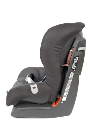 Side view of a gray brown safety car seat for children, isolated on white background.