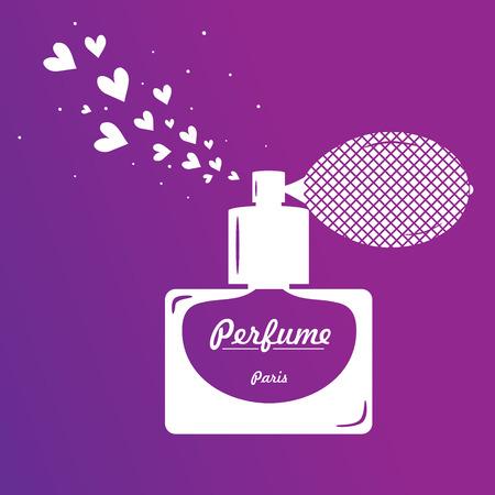 eau de toilette: Perfume bottle on purple background  white bottle of perfume on a purple background with hearts