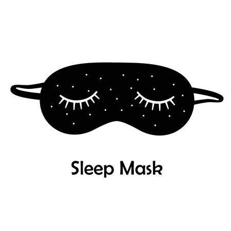 máscara del sueño negro / máscara de dormir sobre un fondo blanco