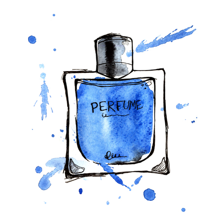 fragrance: Blue perfume bottle. Hand painting watercolor illustration of glass blue perfume bottle