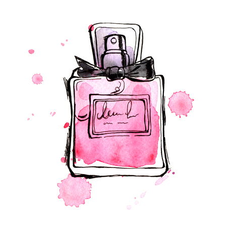 Pink perfume bottle. Hand painting watercolor illustration of glass pink perfume bottle