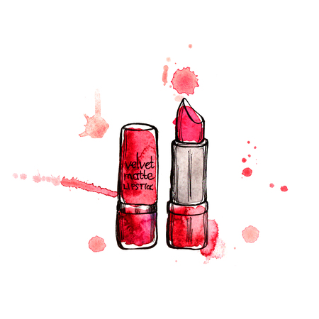 red lipstick: Red lipstick. Hand painting watercolor illustration of red lipstick Stock Photo