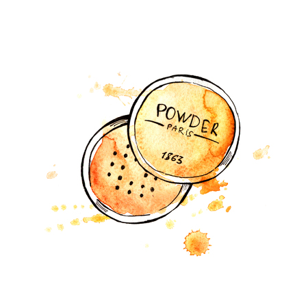 Loose powder. Hand painting watercolor illustration of loose powder