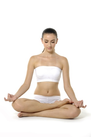 thai yoga: Young woman doing yoga exercise
