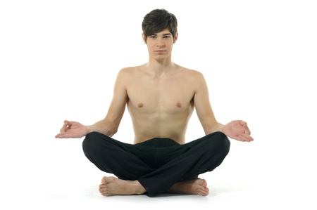 Yoga male isolated on white photo