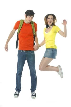 hand bra: happy casual couple jumping of joy Stock Photo