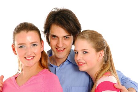 teenagers laughing: Close-up face of three beautiful teenagers laughing and having fun