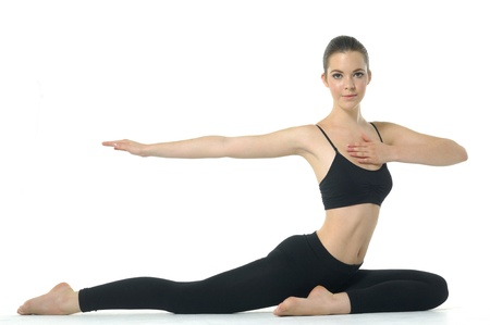 Girl doing yoga photo