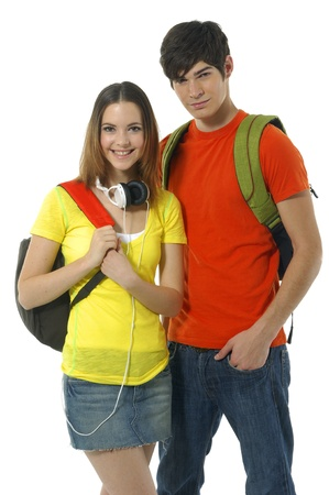 happy casual couple with backpacks over a white photo