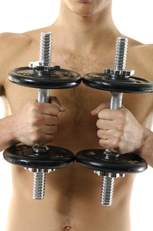 handsome model working out with dumbbells Stock Photo - 11695702