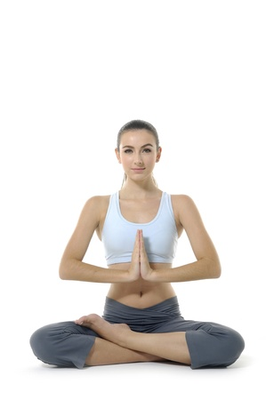 meditation isolated white: Young woman doing yoga exercise