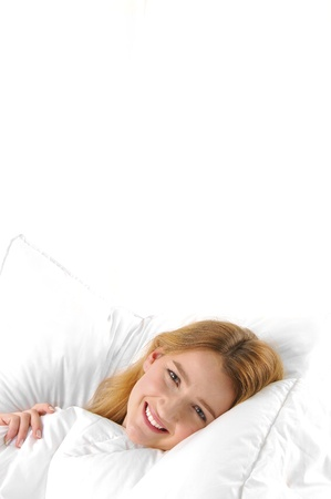 woman sleep: Pregnant young woman in bed