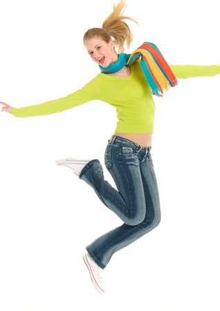 skip: Happy young woman jumping on white