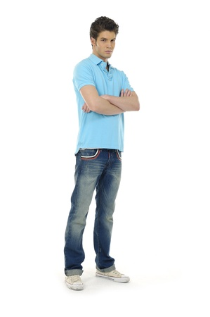casual young man full body, isolated on white Stock Photo - 12683825