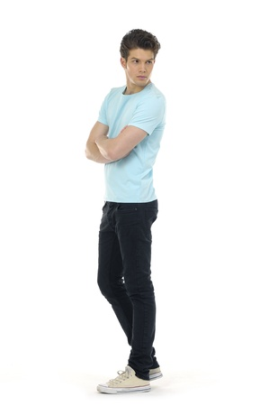 teenage male: young casual man full body in a white