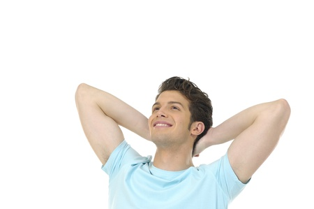 Young man smiling on white Stock Photo - 12684351