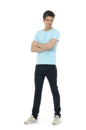 20s: young casual man full body in a white