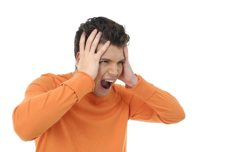 restless: young man having very painful headache