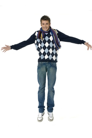 young man jumping for joy photo