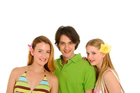 teenagers laughing: Close-up three beautiful teenagers laughing and having fun Stock Photo