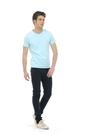 wear: casual young man full body, isolated on white