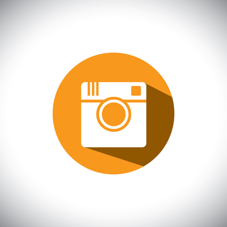 flat design icon of camera for photo sharing on internet, mobile phones, social media sites - social media graphic Vector