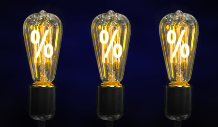 Bulb with glowing percent mark inside of it, creativity concept Stock Photo