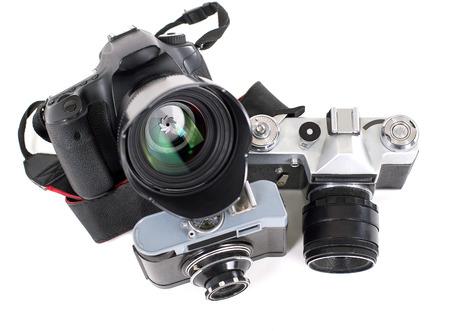 black and white photograph: Photo Camera isolated on white background. Close up. Stock Photo