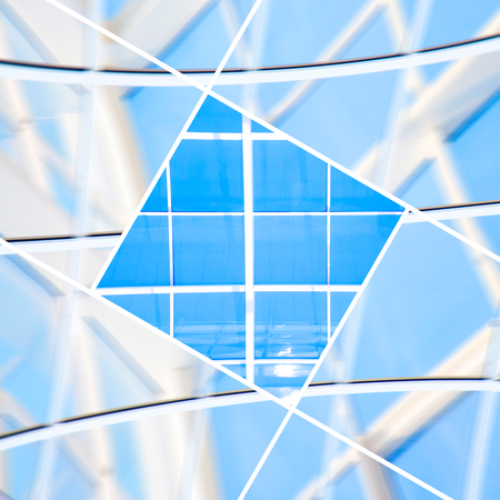 geometric lines: Geometric blue abstract background with triangles and lines. Stock Photo