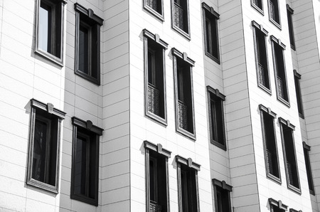prefab: Apartment building.Multistori ed modern and stylish living block of flats. Real estate. New house.Real Estate. Stock Photo